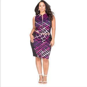 Ashley Stewart GRID PRINT PENCIL SKIRT SET Size 18